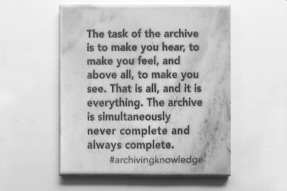 The task of the archive is to make you hear, to make you feel, and above all, to make you see. That is all, and it is everything. The archive is simultaneously never complete and always complete, From the series: Archiving Knowledge, hand engraved marble, 2018
