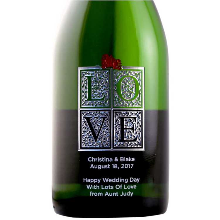 Etching Expressions LOVE etched champagne bottle wedding wine gift