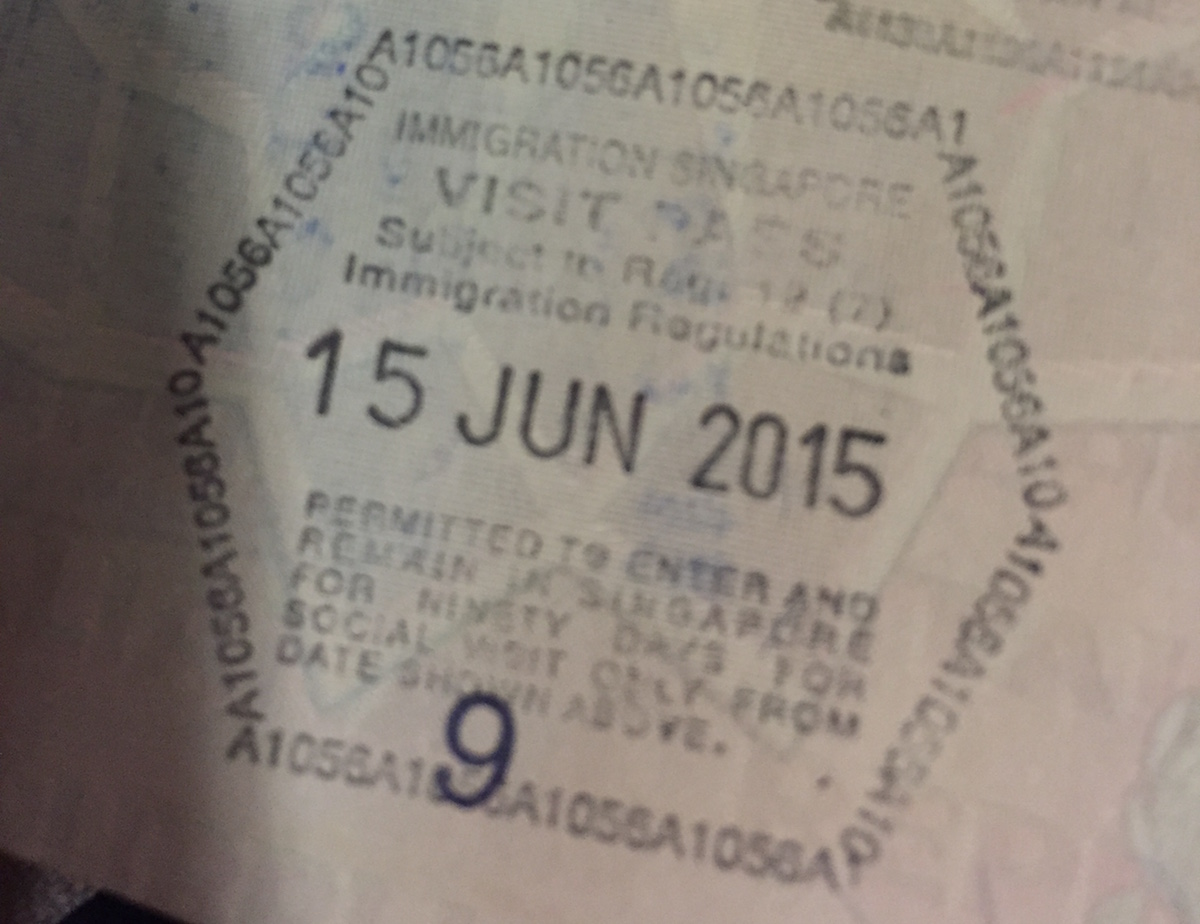 Singapore arrival stamp