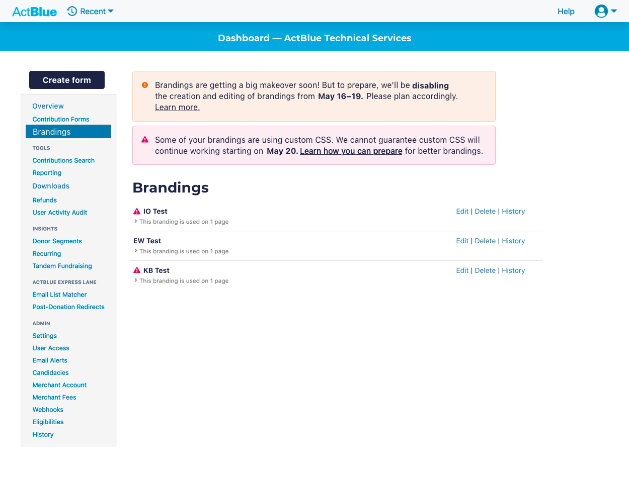 a screenshot featuring an admin UI with warnings about the brandings release