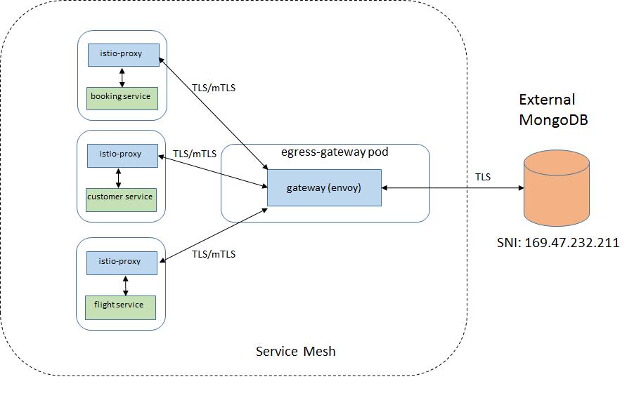 在 Sidecar 和 Egress gateway 之间启用双向 TLS