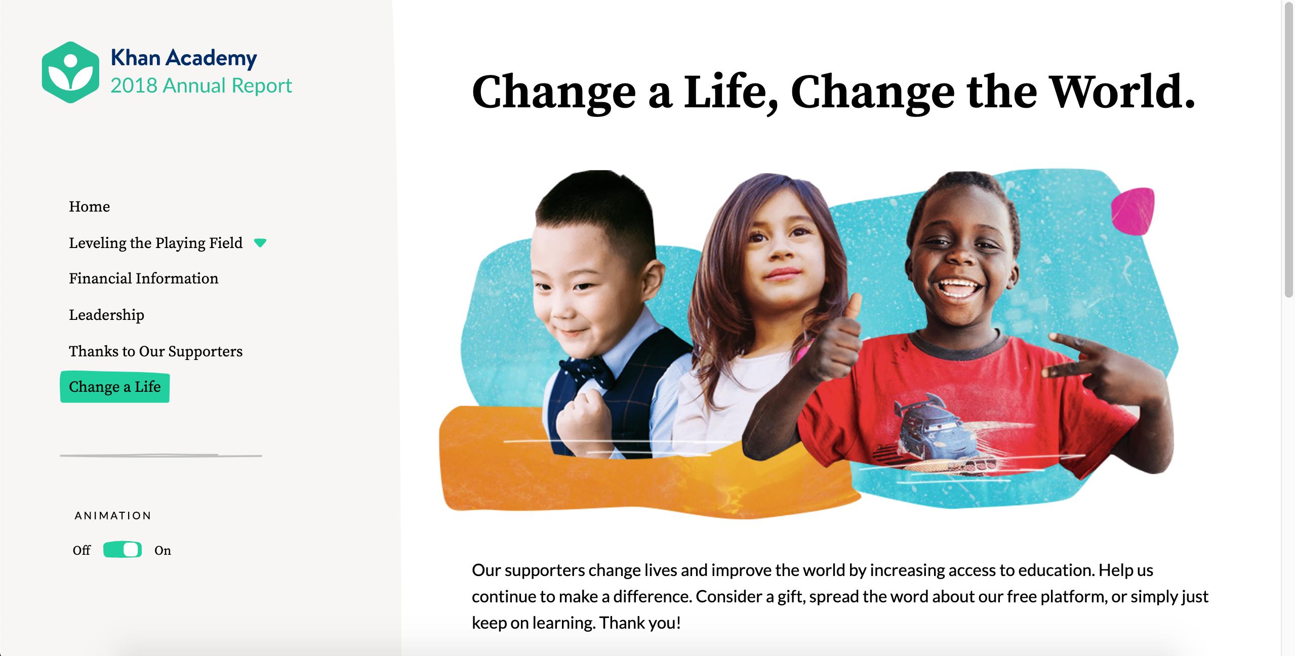 Khan Acadmey Change a Life page