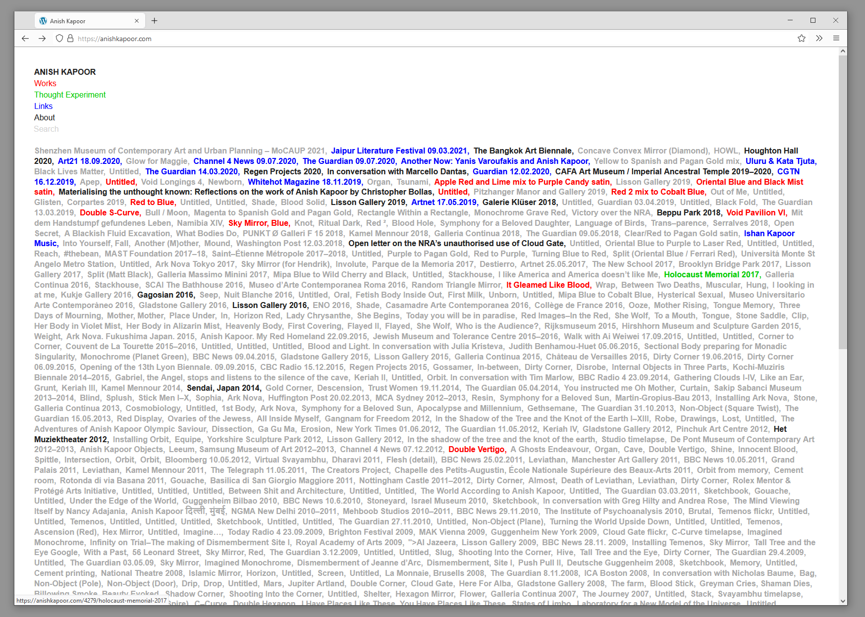 Browser screenshot showing website with hundreds of links in grey, blue, red, green, and black. Title reads: Anish Kapoor
