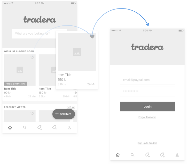 Tradera Wireframes - Creating an account prompt