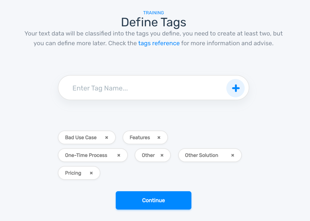 Defining topic tags to train the customer churn topic analyzer: Pricing, One-Time Process, Other Solution, Bad Use Case, Features, and Other
