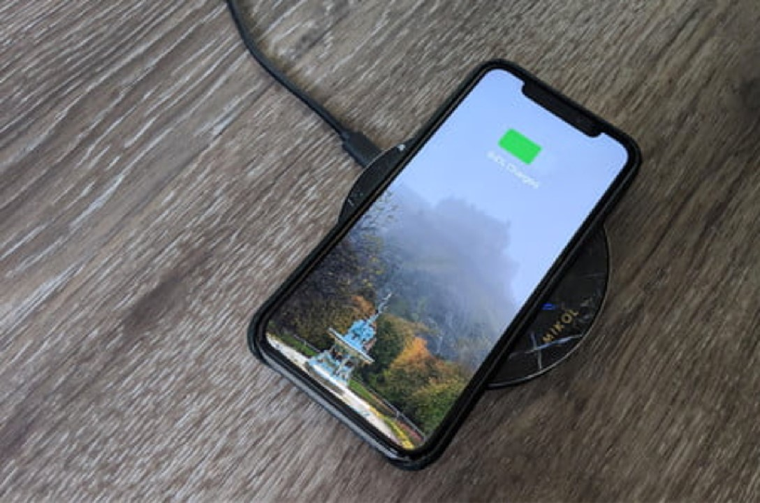 mobile phone on wireless charger