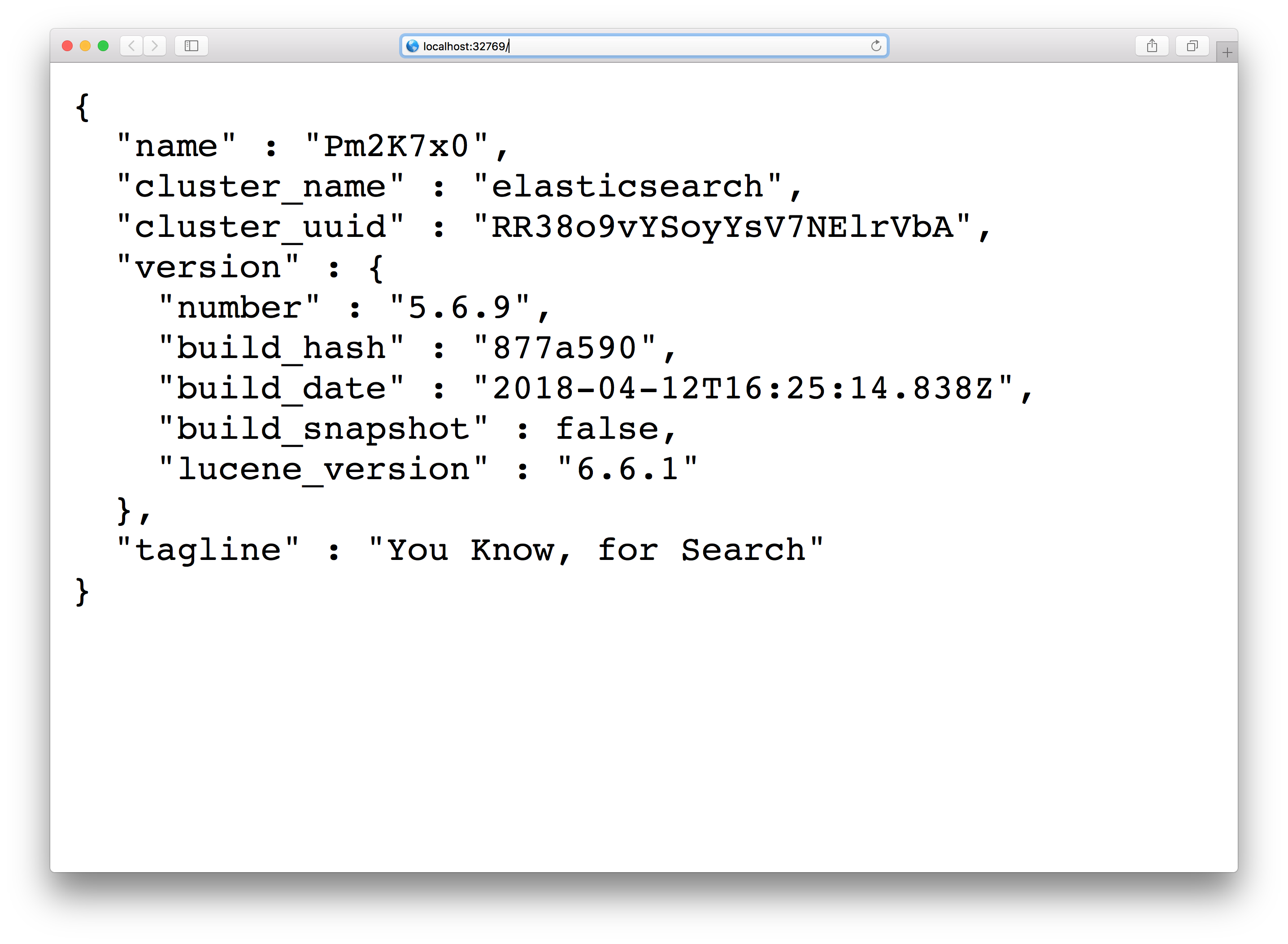 ElasticSearch with Kitematic - Web preview