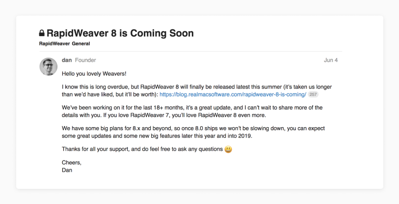 Rapidweaver Forum Post