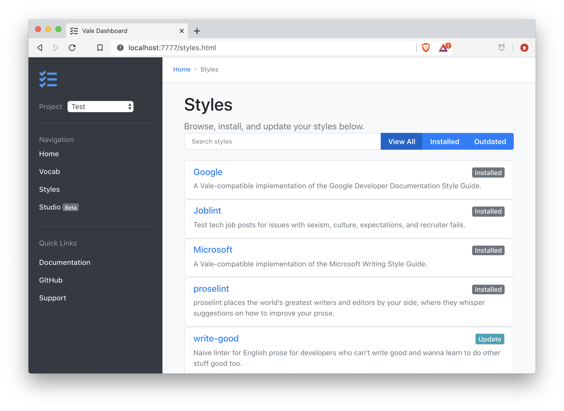 A screenshot of the dashboard's Styles page.