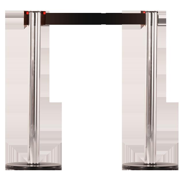 Pedestal em alumínio com acabamento cromado.