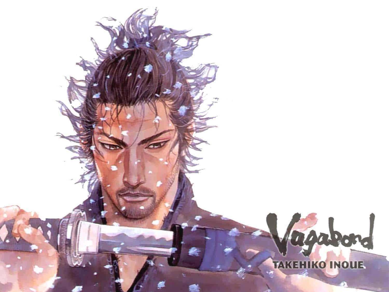 Ilustração de Takehiko Inoue: Shinmen Takezo na capa do mangá Vagabond, em que o jovem irá se tornar o famoso Myamoto Musashi