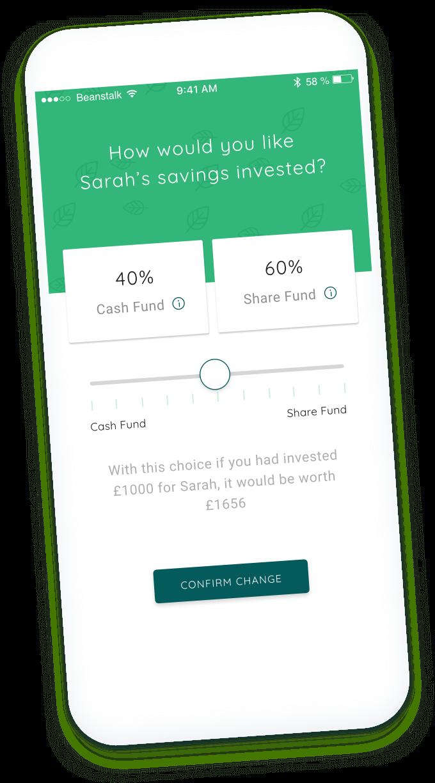 Screenshot of beanstalk app showing allocation