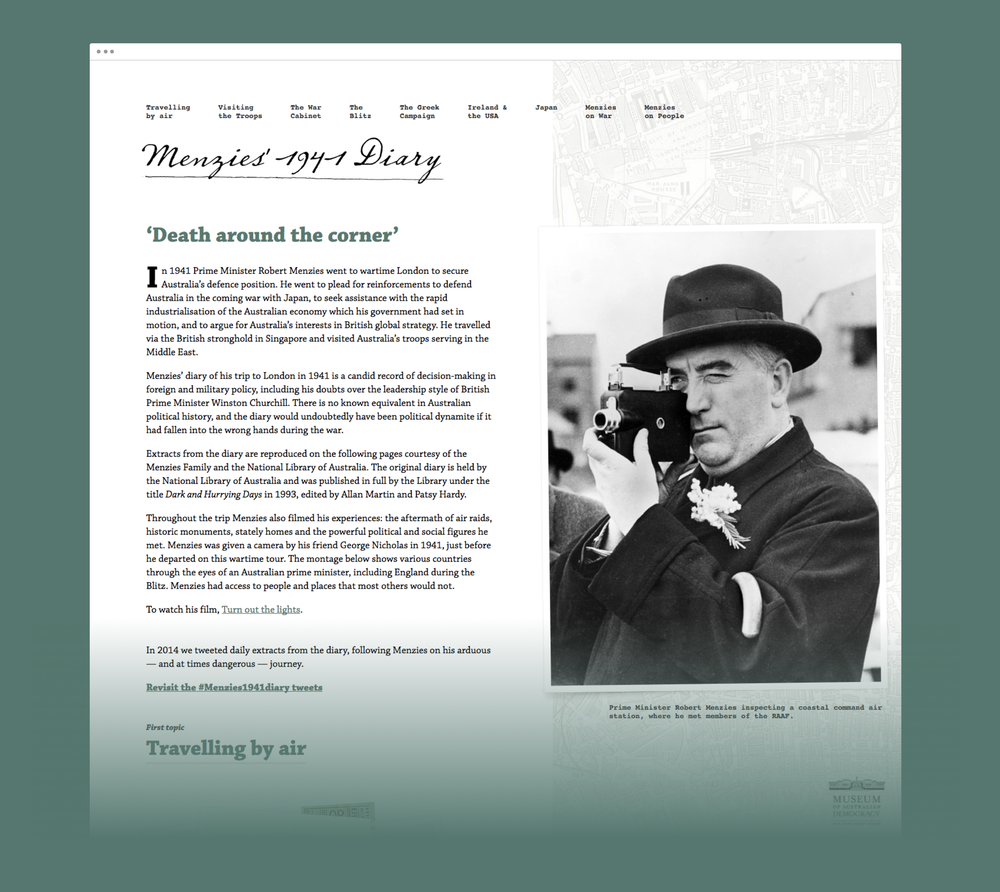 The landing page of the Menzies Diary website