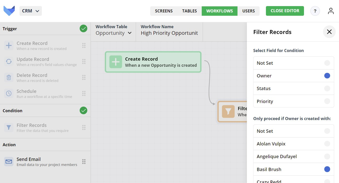 Create Workflow Filter Records settings for User field