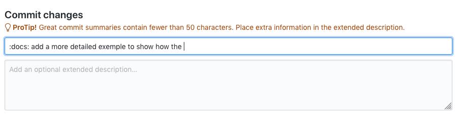 Vue de GitHub qui alerte si la description dépasse les 50 caractères