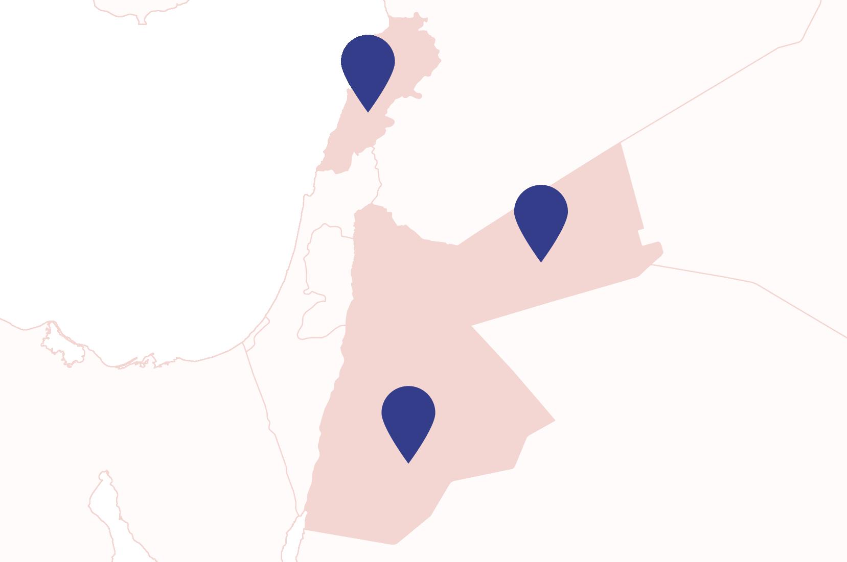 Map showing Jordan and Lebanon