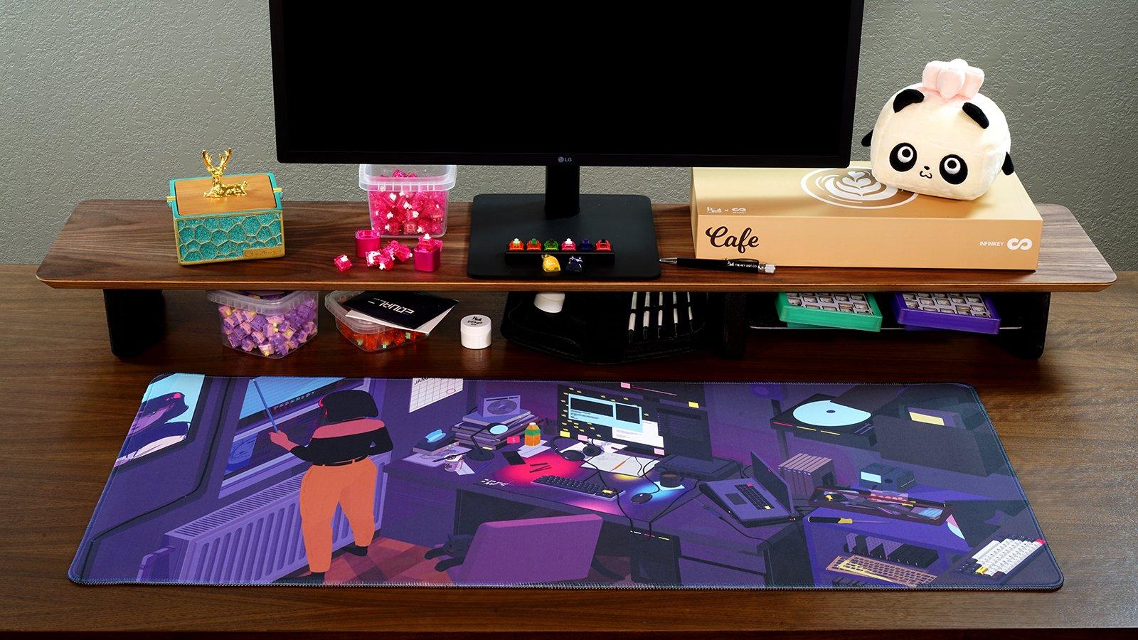 Photo of deskmat on a desk.