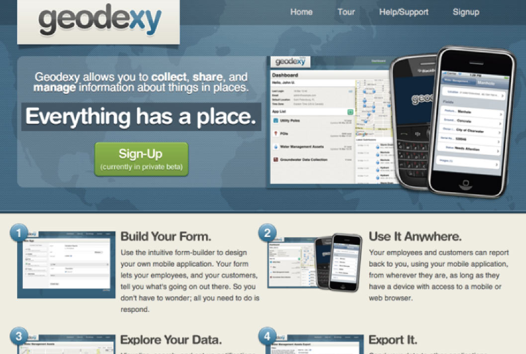 Initial landing page for commercial version of geodexy