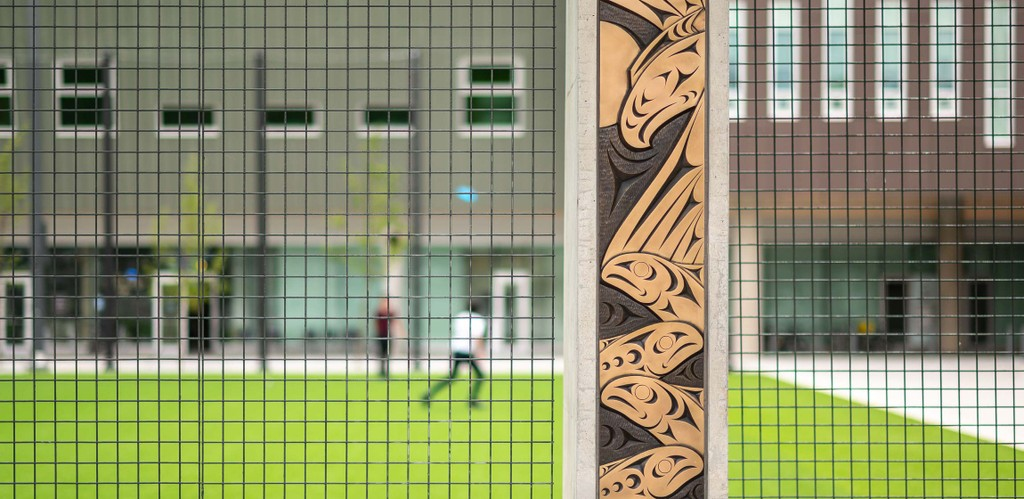 Detail of ʔəlqsən (Point Grey), an art installation on the UBC Vancouver campus