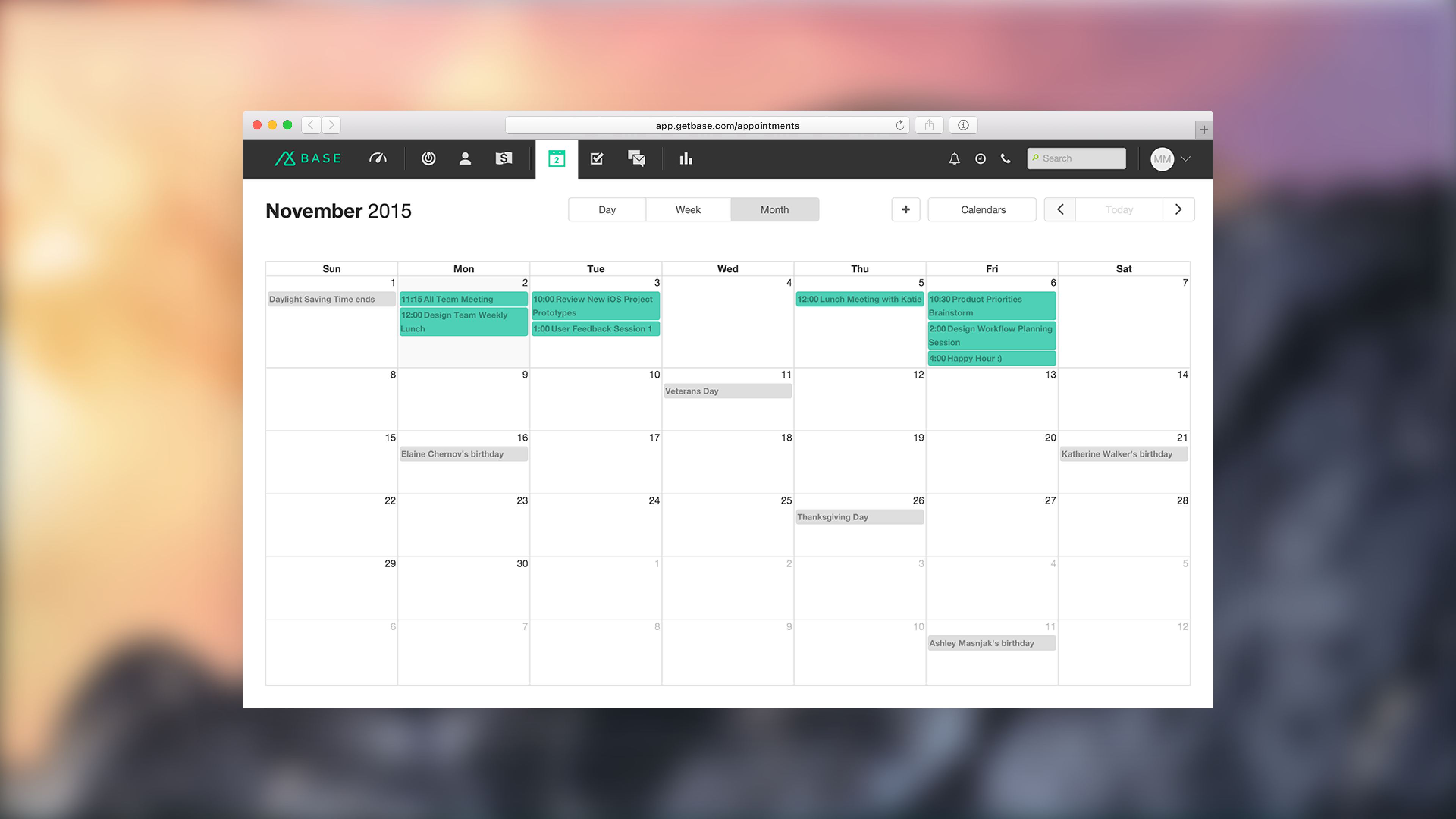 Base CRM - Appointments - Month View