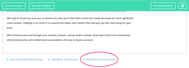 Click add blank Price Section