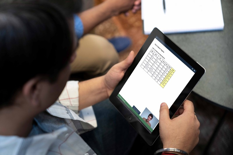 Student working on a tablet