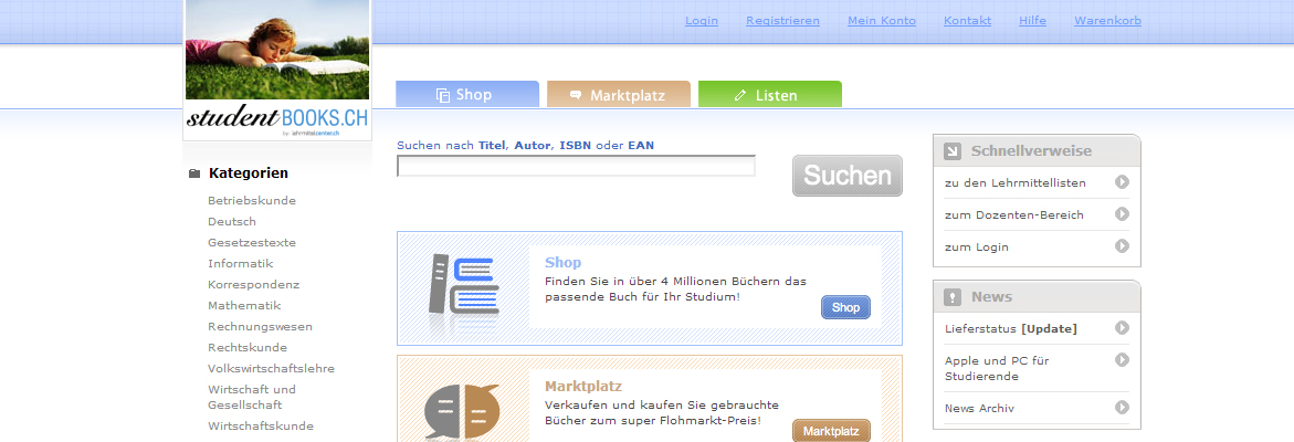 Studentbook's Landingpage