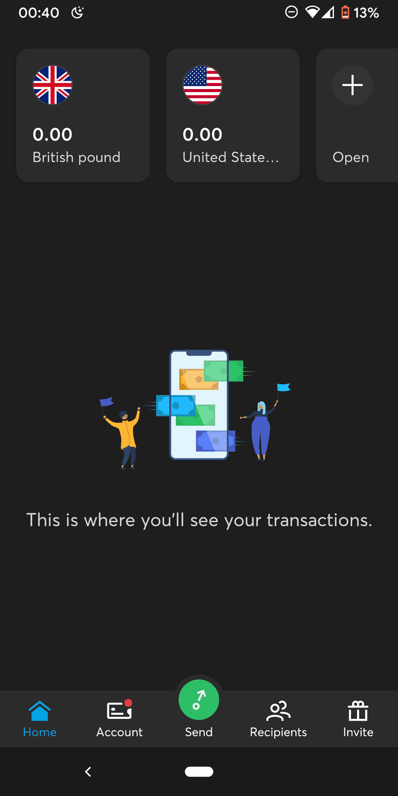 Screenshot of No transactions in TransferWise for Android