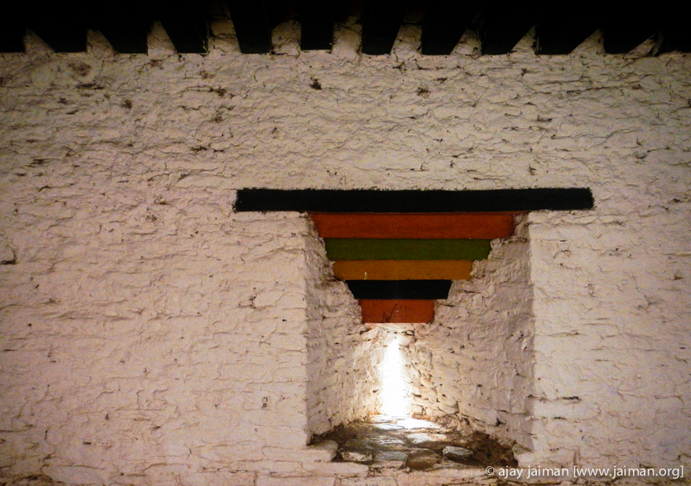 Arrowslit? in a monastary? OR just to let light in? Jakar Dzong - a major monastery in Bumthang