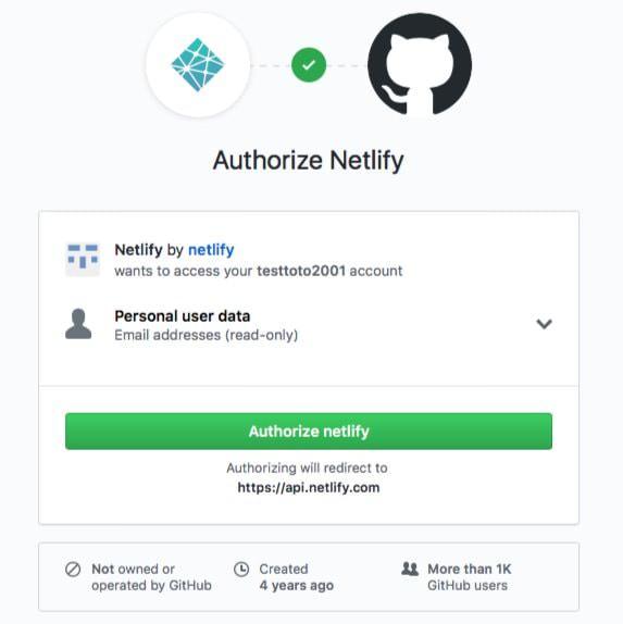 Netlify Authorize Github