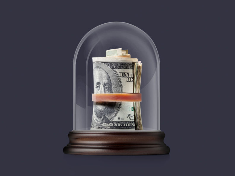 Money in a display