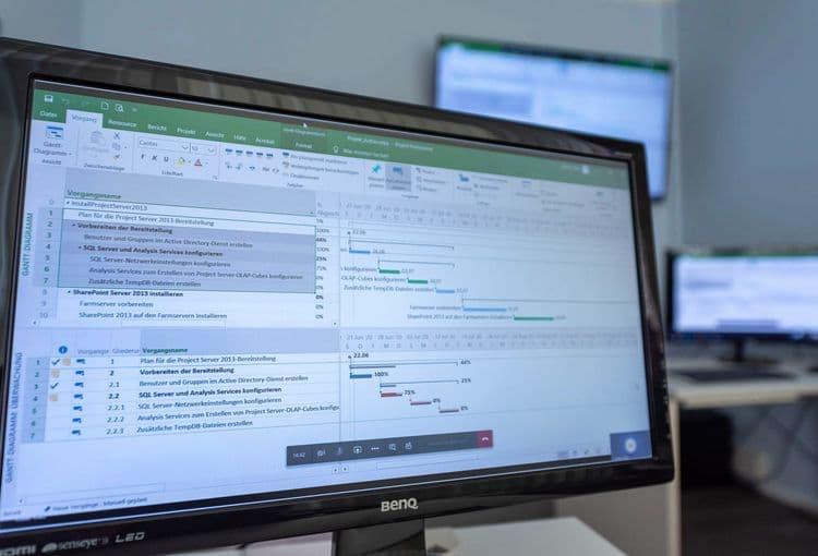 Bildschirm mit Übungsaufgabe aus unserer Project-Schulung