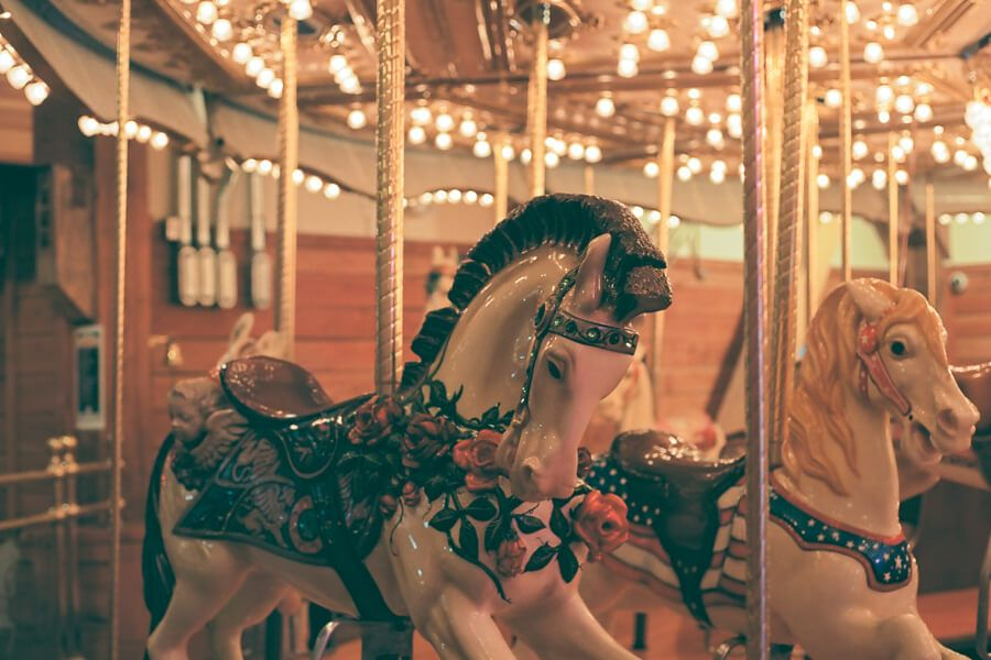Closeup of a horse on the carousel