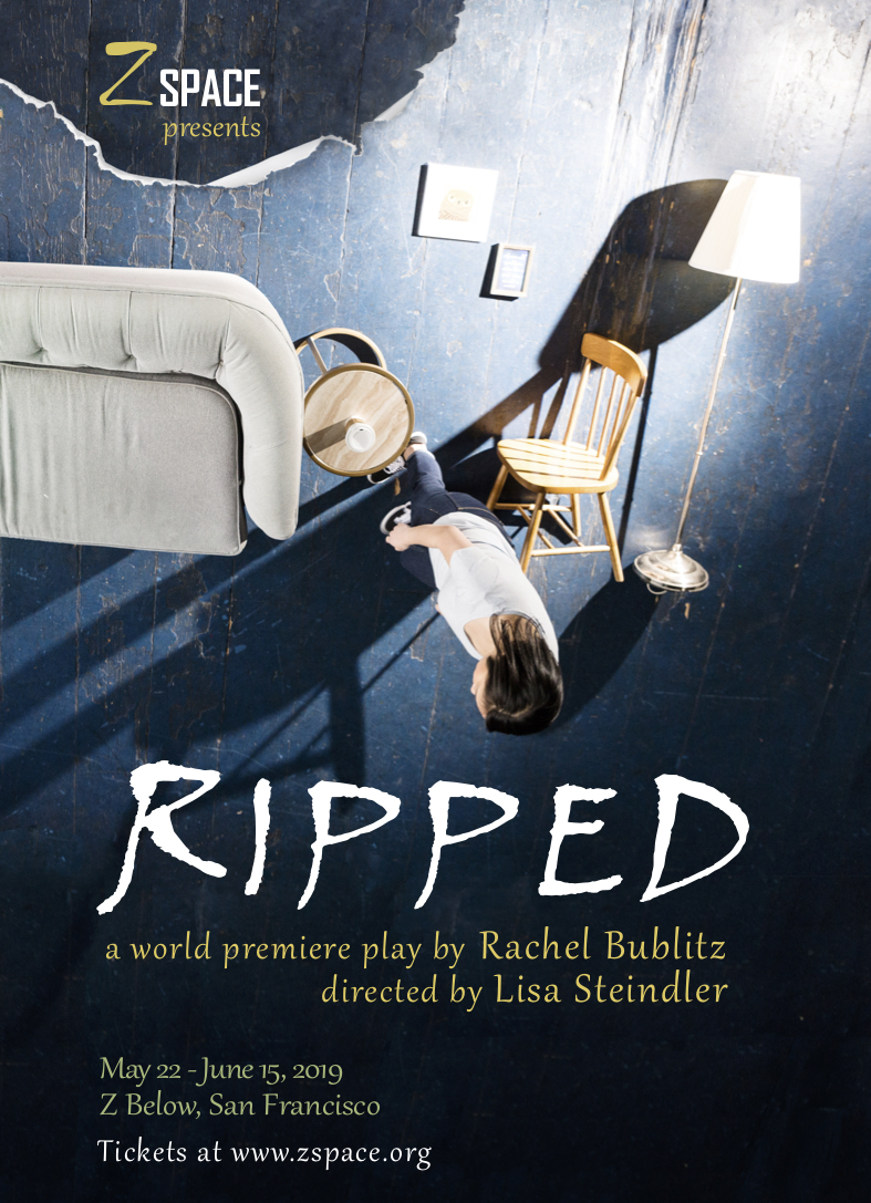 Postcard for world premiere of RIPPED at Z Space.