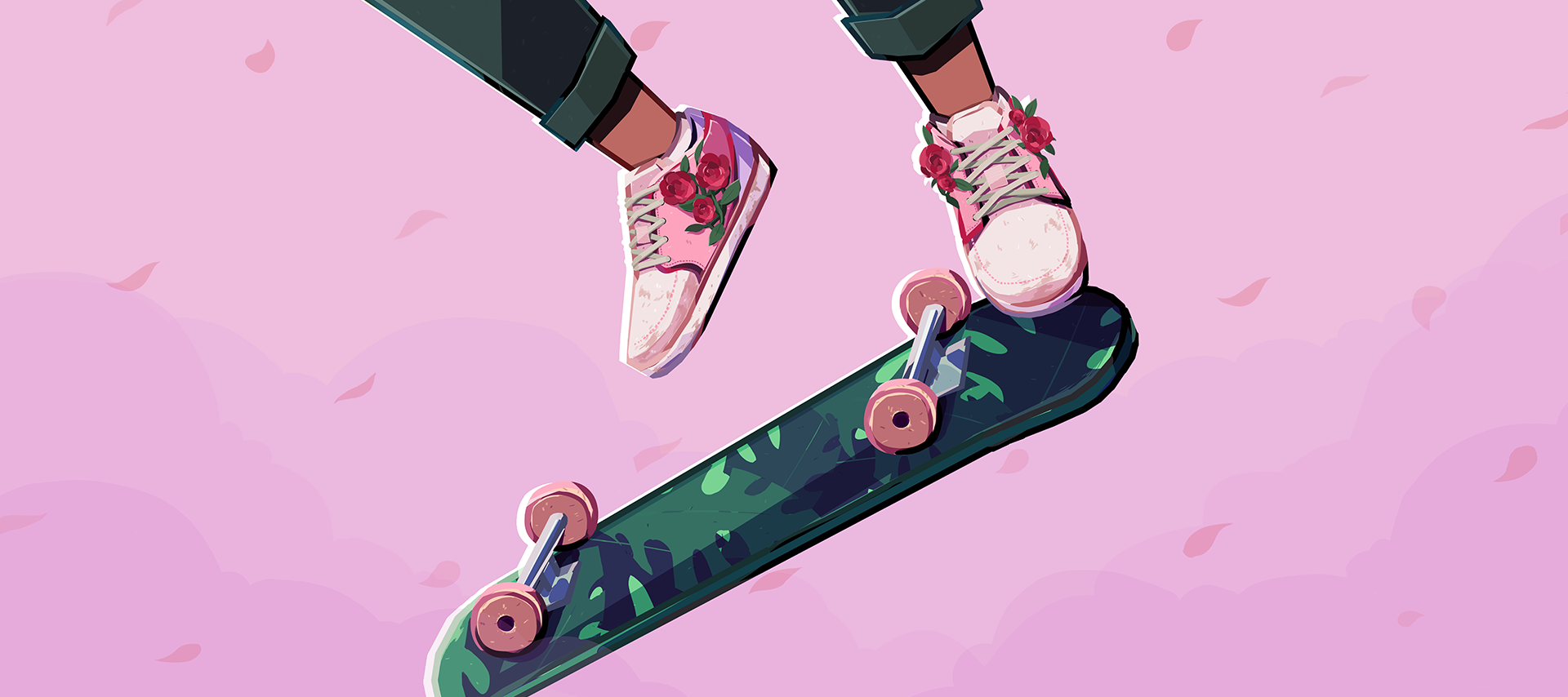 Closeup of a skateboard with two shoes jumping over it. The shoes are pink and have red flowers, and the skateboard has deep green leaves.