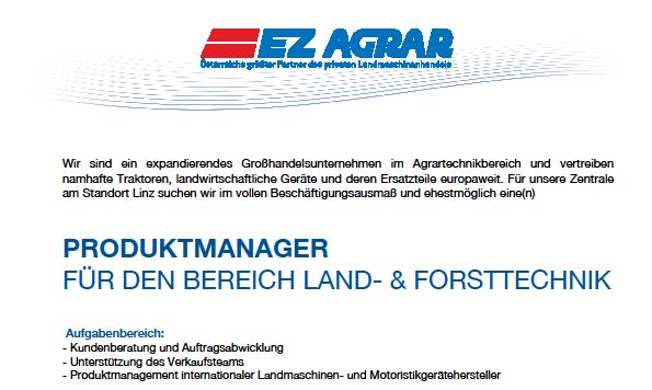 Produktmanager für den Bereich Land- & Forsttechnik