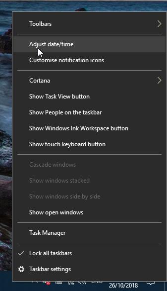 Adjust date/time context menu