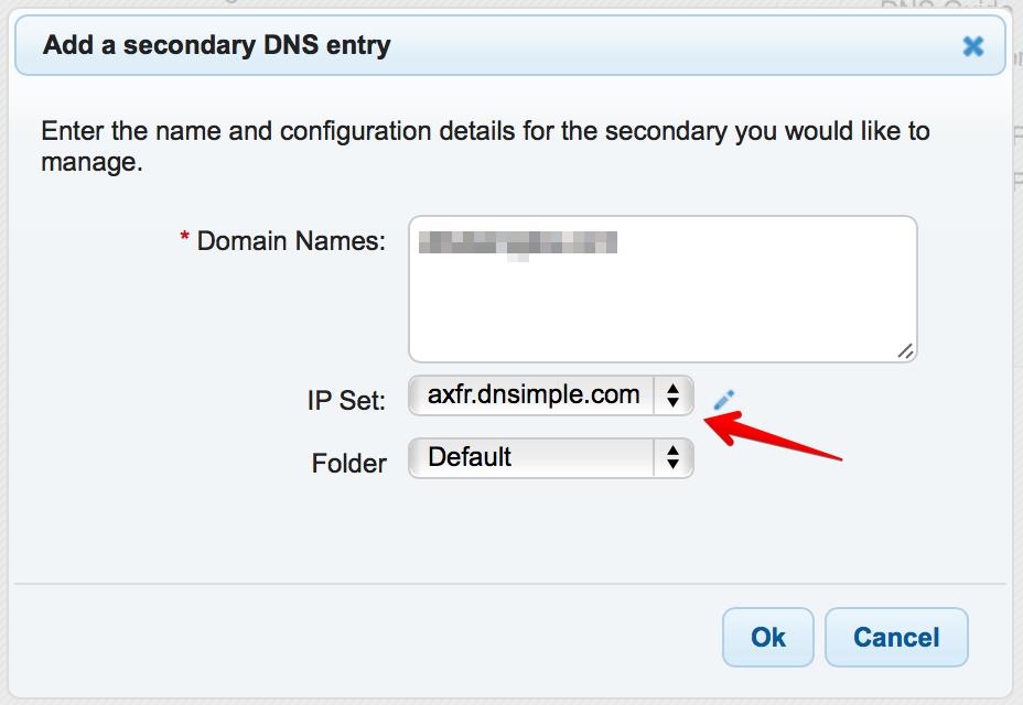 DNSMadeEasy adding secondary configuration