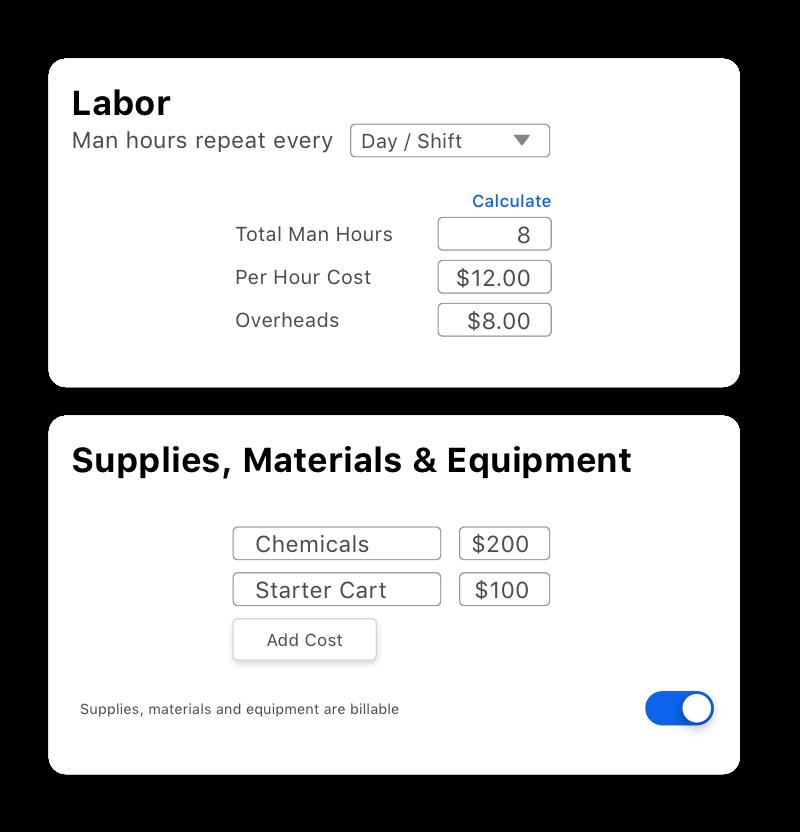 screen showing estimate costs breakdown