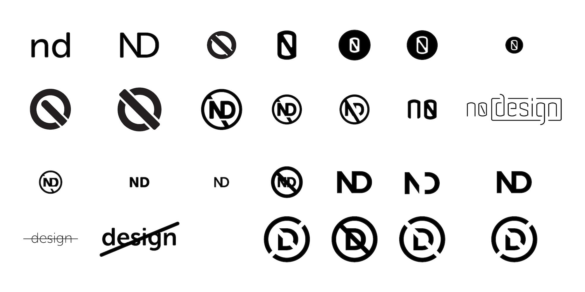 Initial designs for 'No Design' logo and wordmark