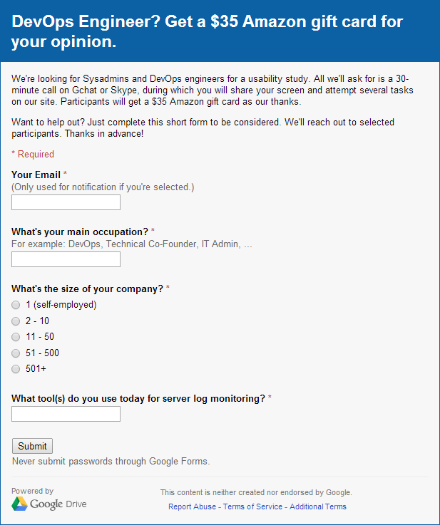 Signup Form Used for Usability Test