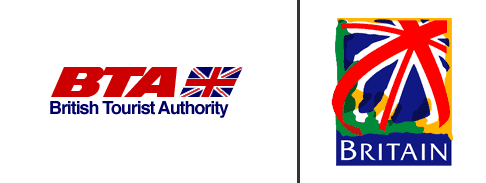British Tourist Authority logos, old and new