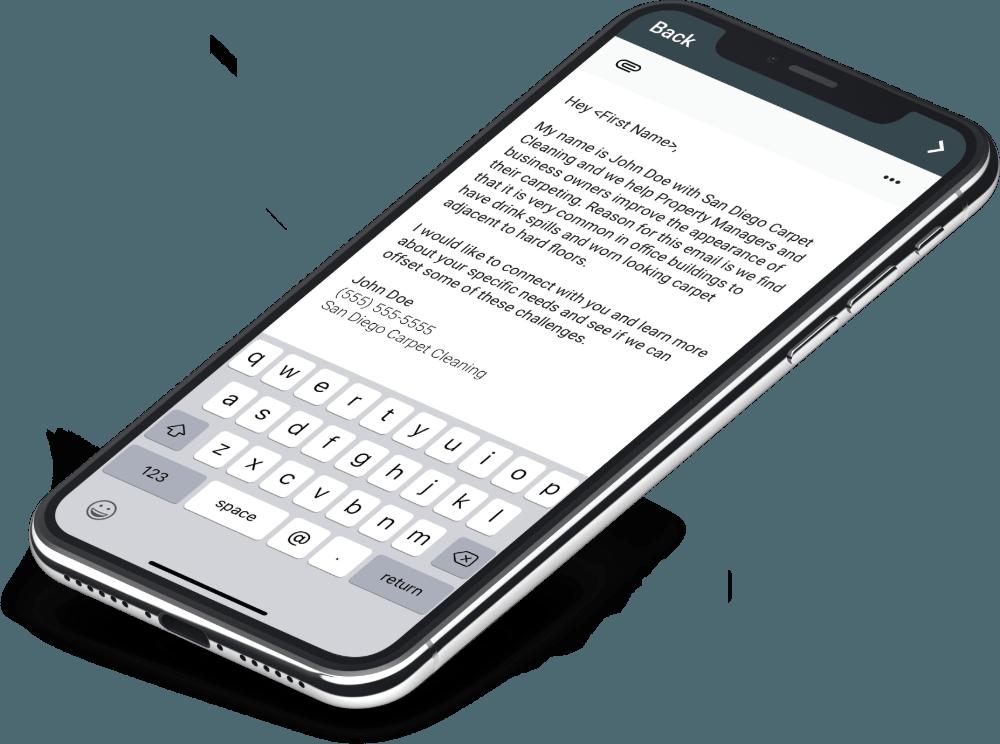 Email Blast phone view