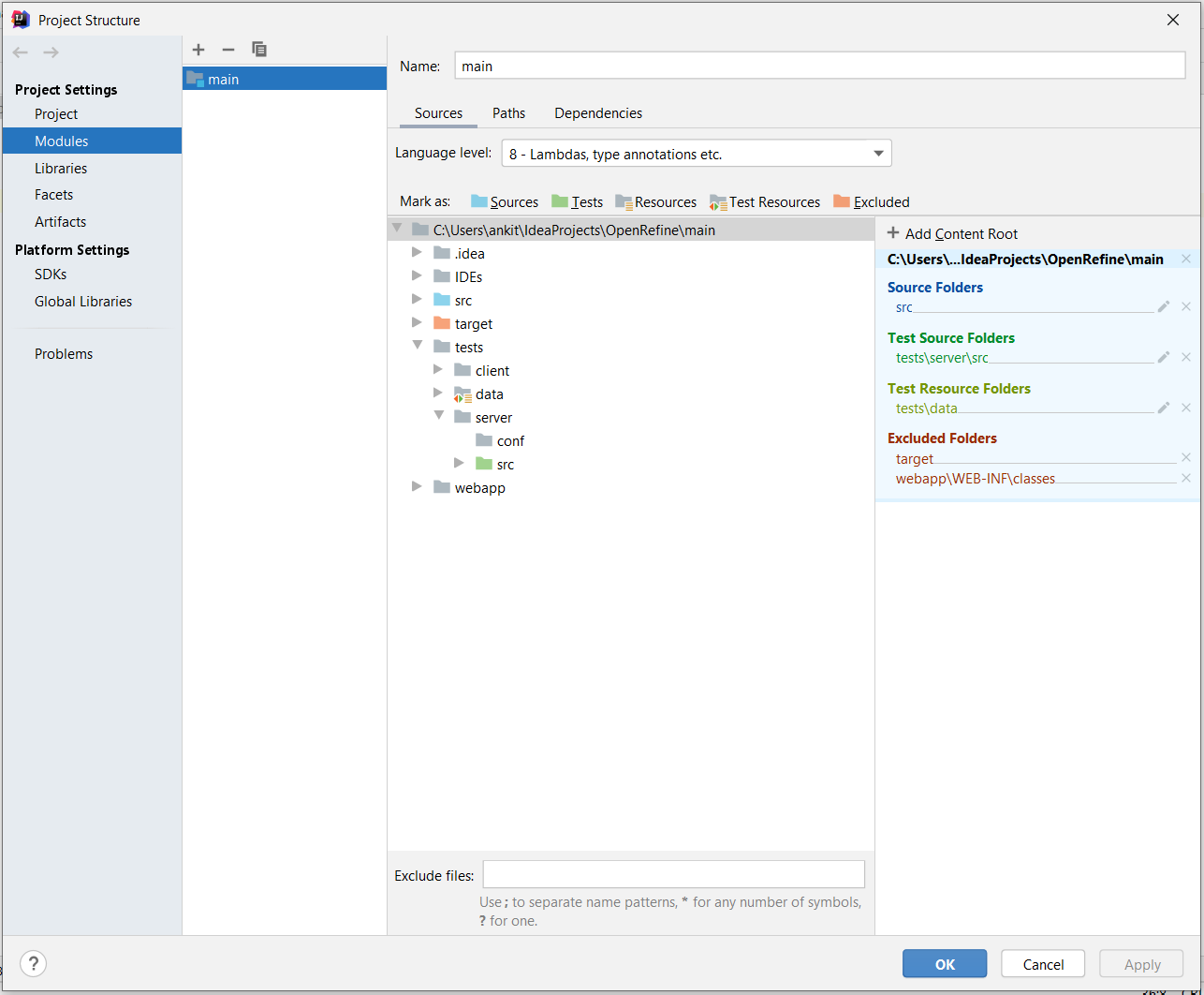 Screenshot of module settings in IntelliJ