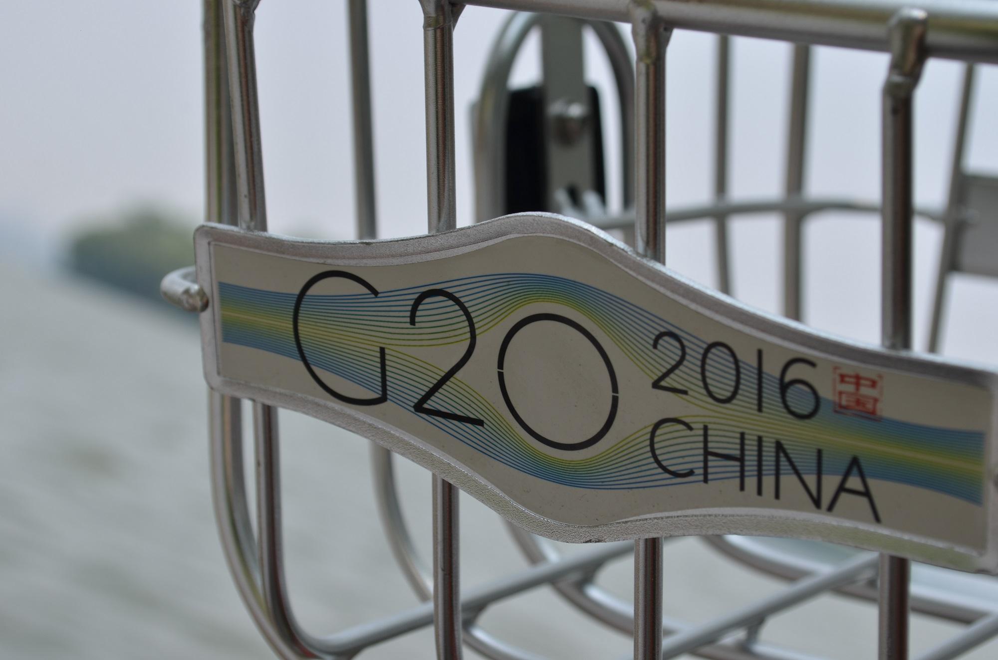 """Jedes Fahrrad der """"Public Bikes"""" wirbt für G20."""