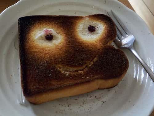 burnt toast smiling