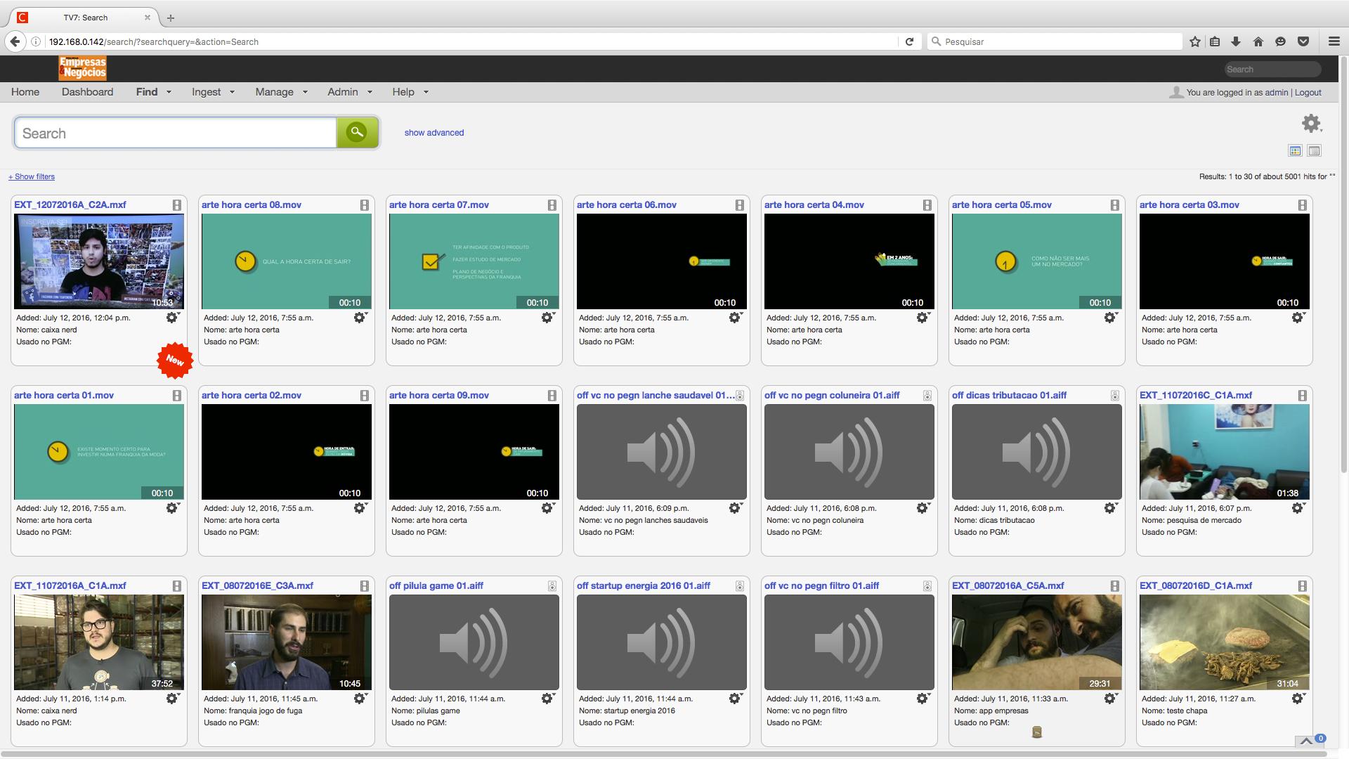 TV7 Cantemo Portal Screenshot