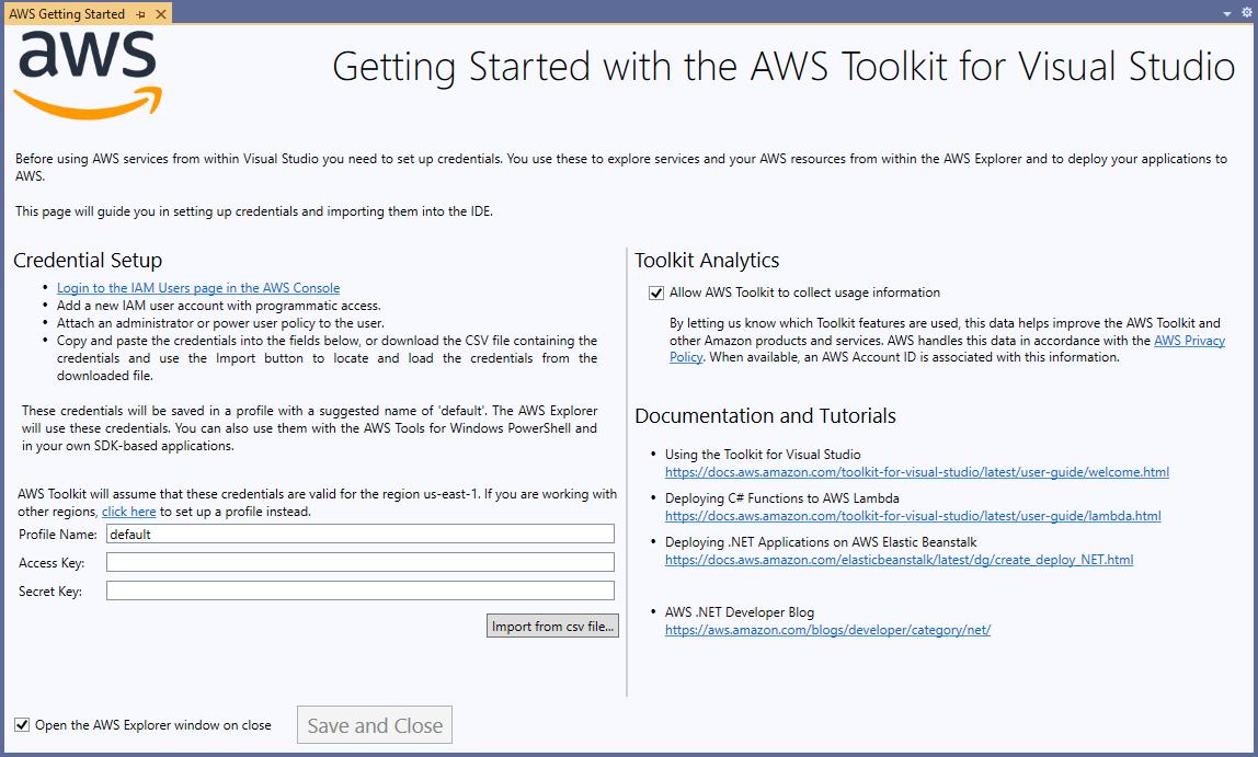 Visual Studios AWS login prompt