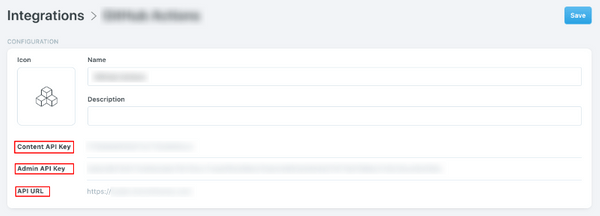 Ghost Admin Custom Integration