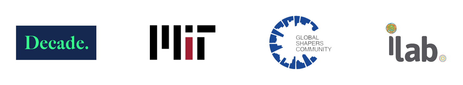 logos of four selected clients — decade impact, mit, global shapers community, and ilab